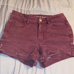 American Eagle Burgundy Jean High Rise Shorties